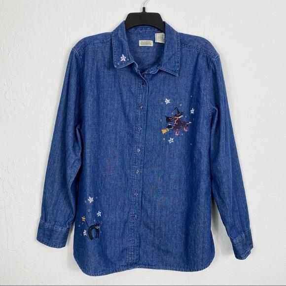 Vintage Denim Halloween Witch Embroidered Shirt